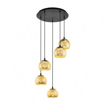 стъклен полилей, gold, eglo, albaraccin, 5x40w, 98526