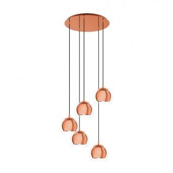 стъклен полилей, copper, eglo, rocamar 1, 5x28w, 98595