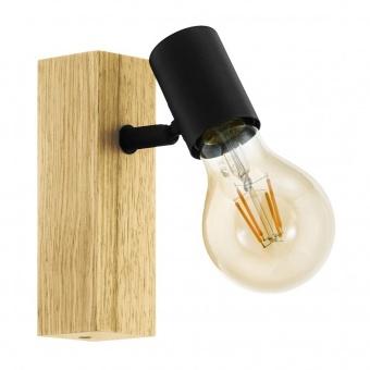 дървен спот, black, eglo, townshend 3, 1x10w, 98111