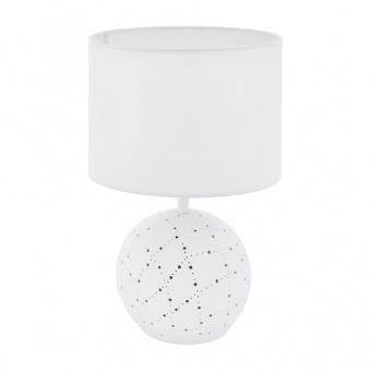 керамична настолна лампа, white, eglo, montalbano, 1x60w+1x7w, 98381
