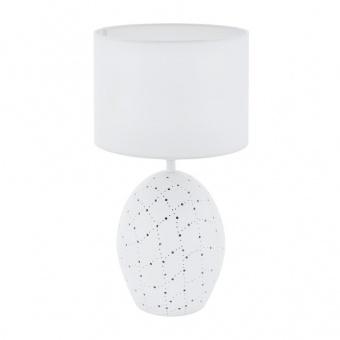 керамична настолна лампа, white, eglo, montalbano, 1x60w+1x7w, 98382