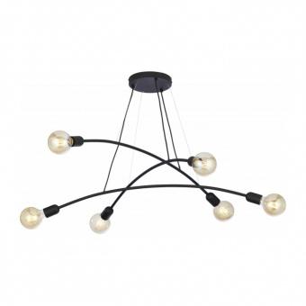 метален полилей, black, tk lighting, helix, 6x40w, 2726