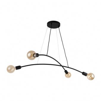 метален полилей, black, tk lighting, helix, 4x40w, 2724
