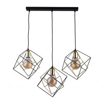 метален полилей, black+gold/black, tk lighting, alambre, 3x40w, 2699