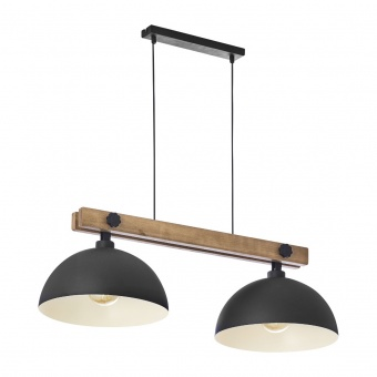 дървен полилей, black/natural, tk lighting, oslo, 2x40w, 1706