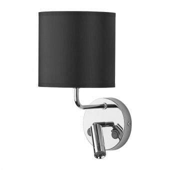 текстилен аплик, black/chrome, tk lighting, enzo, 1x40w+ led 3w, 4232