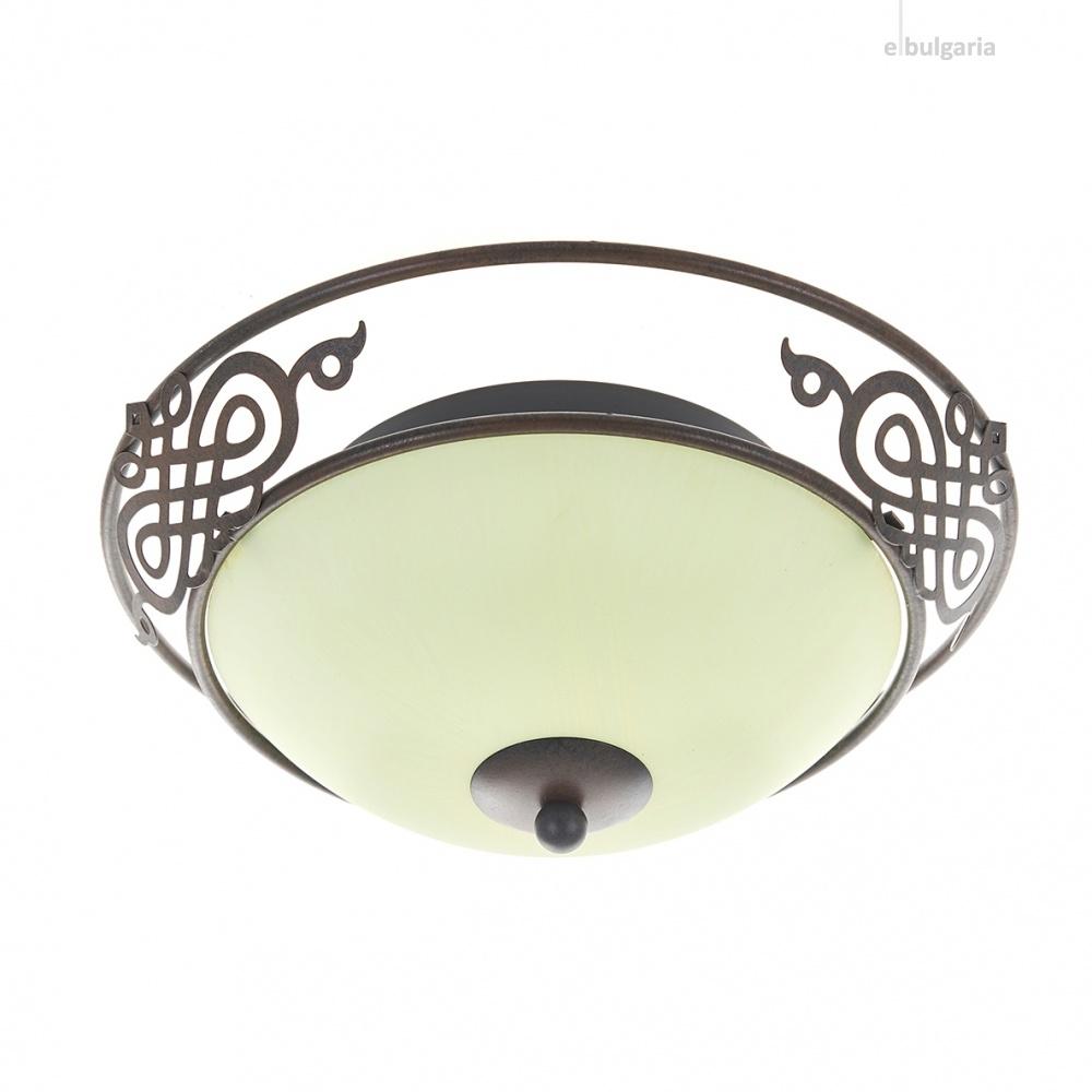 стъклен плафон, антично черно, elbulgaria, 2x40w, 2033/30 sbk