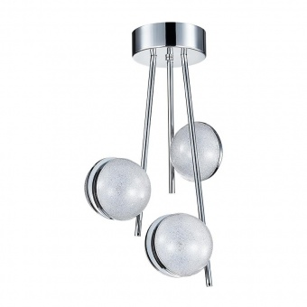 метален полилей, chrome/crystal effect, luxera, malcolm, led 24w, 4000k, 1920lm, 62435