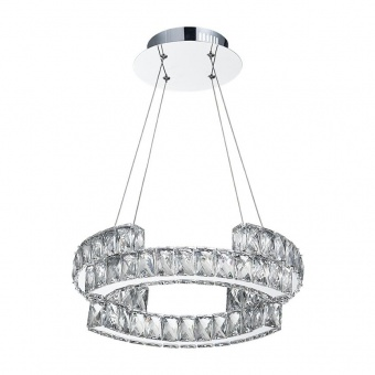 кристален полилей, chrome/crystal, luxera, santana, led 24w, 4000k, 1900lm, 62428