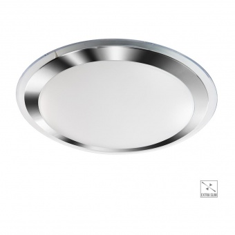 pvc плафон, white/chrome/clear, prezent, fluo, led 24w, 4000k, 2640lm, 71301