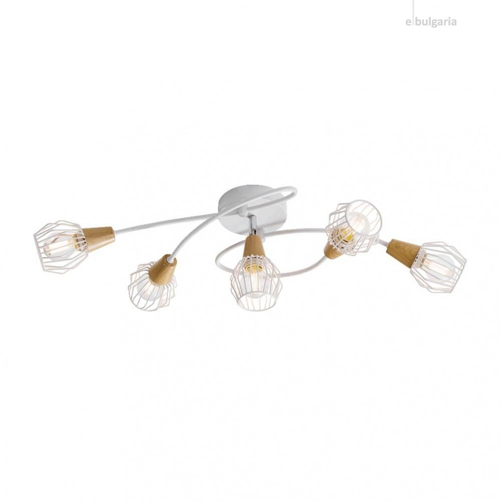 метален полилей, white/light wood, prezent, tameta, 5x40w, 27506