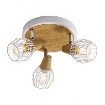 метален спот, white/light wood, prezent, tameta, 3x40w, 27505