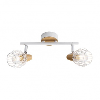метален спот, white/light wood, prezent, tameta, 2x40w, 27504