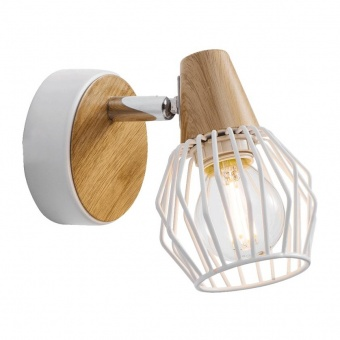 метален спот, white/light wood, prezent, tameta, 1x40w, 27503
