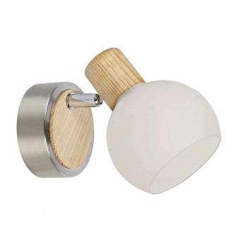 стъклен спот, nickel satin/light wood/white, prezent, tong, 1x25w, 75565