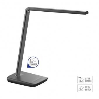 метална работна лампа, metallic grey, prezent, aumera, led 8w, 3000k, 700lm, 63117