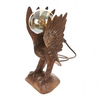 настолна лампа от дърво, кафява, elbulgaria, 1x25w, eli 83 eagle