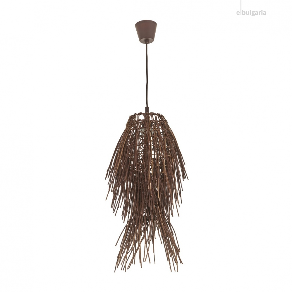 пендел от дърво, кафяв, elbulgaria, 1x25w, eli 75