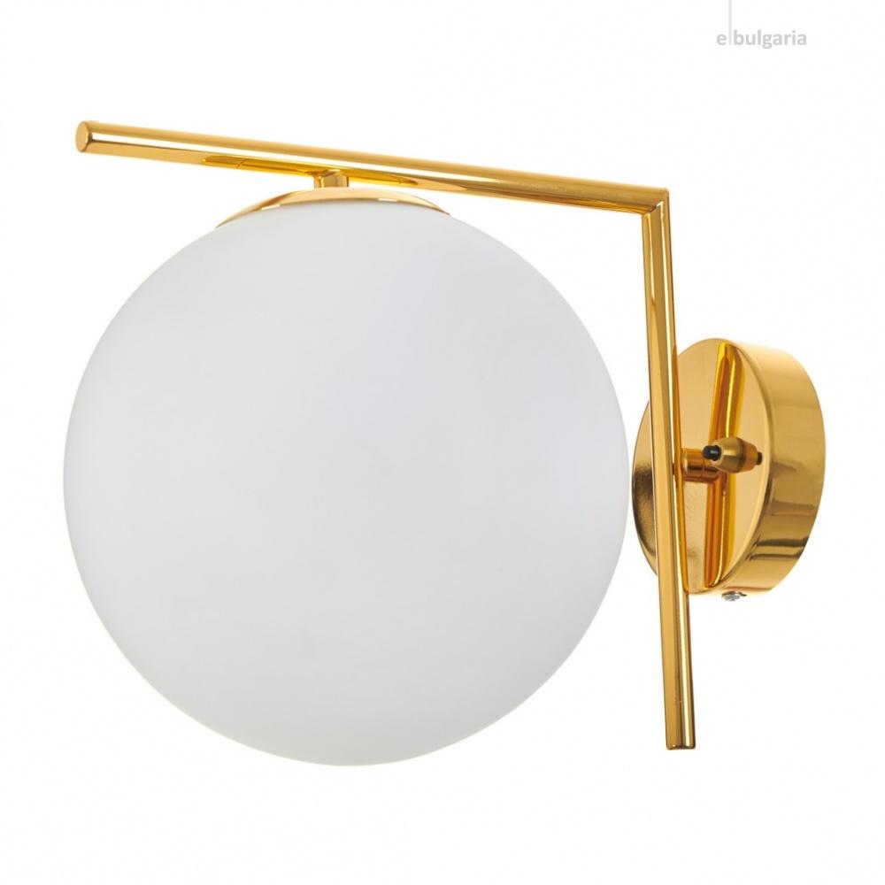 стъклен аплик, злато, elbulgaria, 1x40w, 2107/1w gd