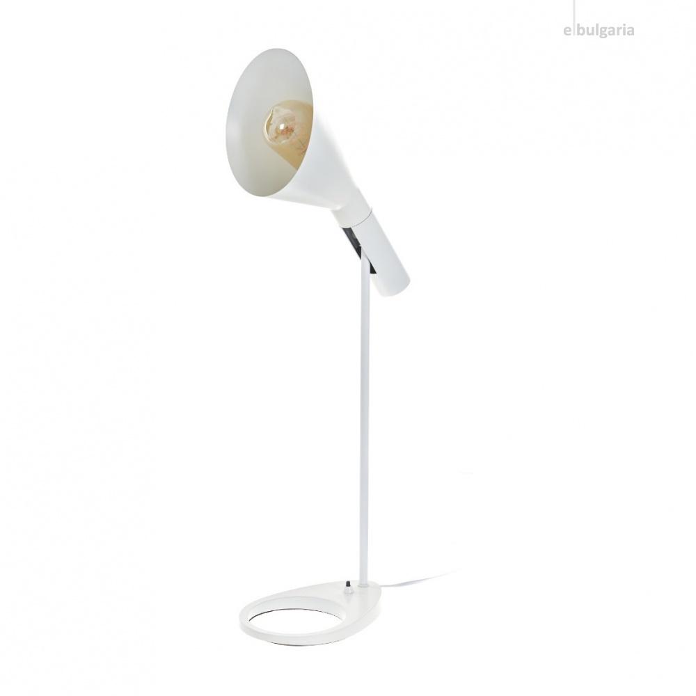 метална настолна лампа, бяла, elbulgaria, 1x40w, 2105/t wh