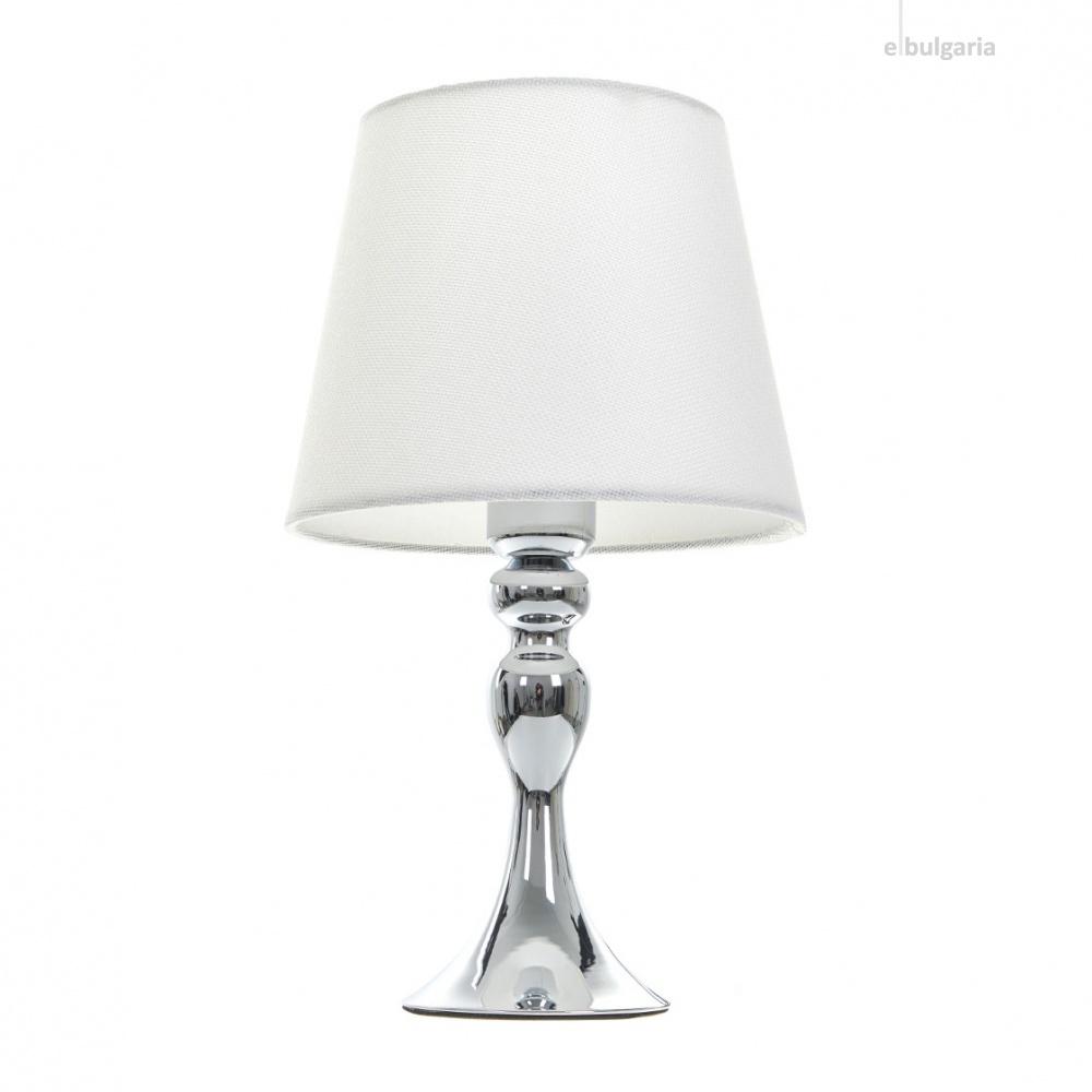 текстилна настолна лампа, хром, elbulgaria, 1x40w, 2069/mix d337