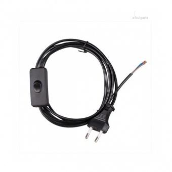 захранващ кабел с ключ и щепсел, vivalux, черен, 2х0,75, 2,5а, 001647