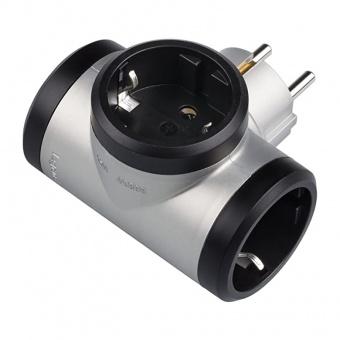 адаптер 3 гнезда Т-образен за контакт тип шуко, сив, legrand, 50664