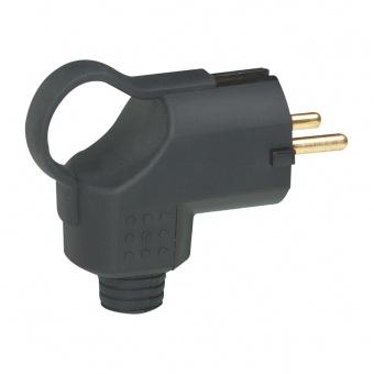 щепсел, черен, 3х2,5мм2 2Р+Т 16А IP44 250V гумиран, legrand, 50252