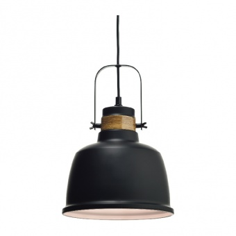 пендел vintage, matt black+wood shade+white, 1xE27, aca lighting, ks212622p