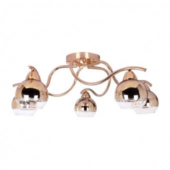 полилей style, copper-gold+clear, 5xE27, aca lighting, tnk81444cg5h