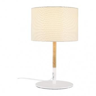 настолна лампа textile, sand white+white+wood shade, 1xE27, aca lighting, od6508twh