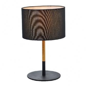 настолна лампа textile, sand black+black+wood shade, 1xE27, aca lighting, od6508tbk