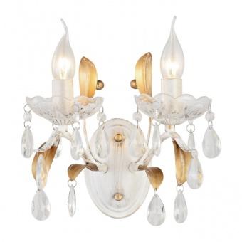 аплик elegant, white patine+antique gold+clear, 2xE14, aca lighting, dl9342wwg