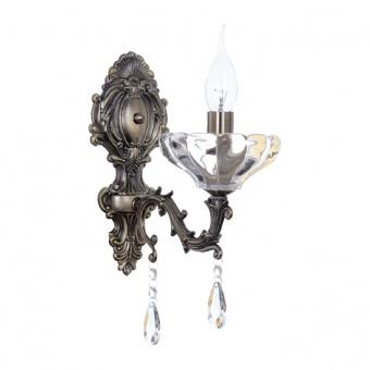 аплик elegant, antique bronze+clear, 1xE14, aca lighting, tnk854531w