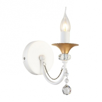 аплик elegant, matt white+antique gold+clear, 1xE14, aca lighting, dla12141w