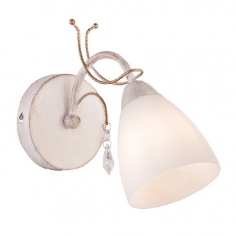 аплик elegant, white patine+antique gold+white+clear, 1xE14, aca lighting, dla12121