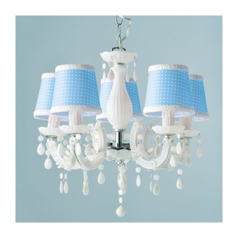 полилей acrylic, white+blue+chrome, 5xE14, aca lighting, sf35045b