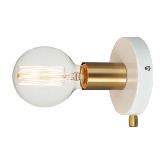 аплик wall&ceiling luminaires, polished white+brushed brass, 1xE27, aca lighting, v36382wp