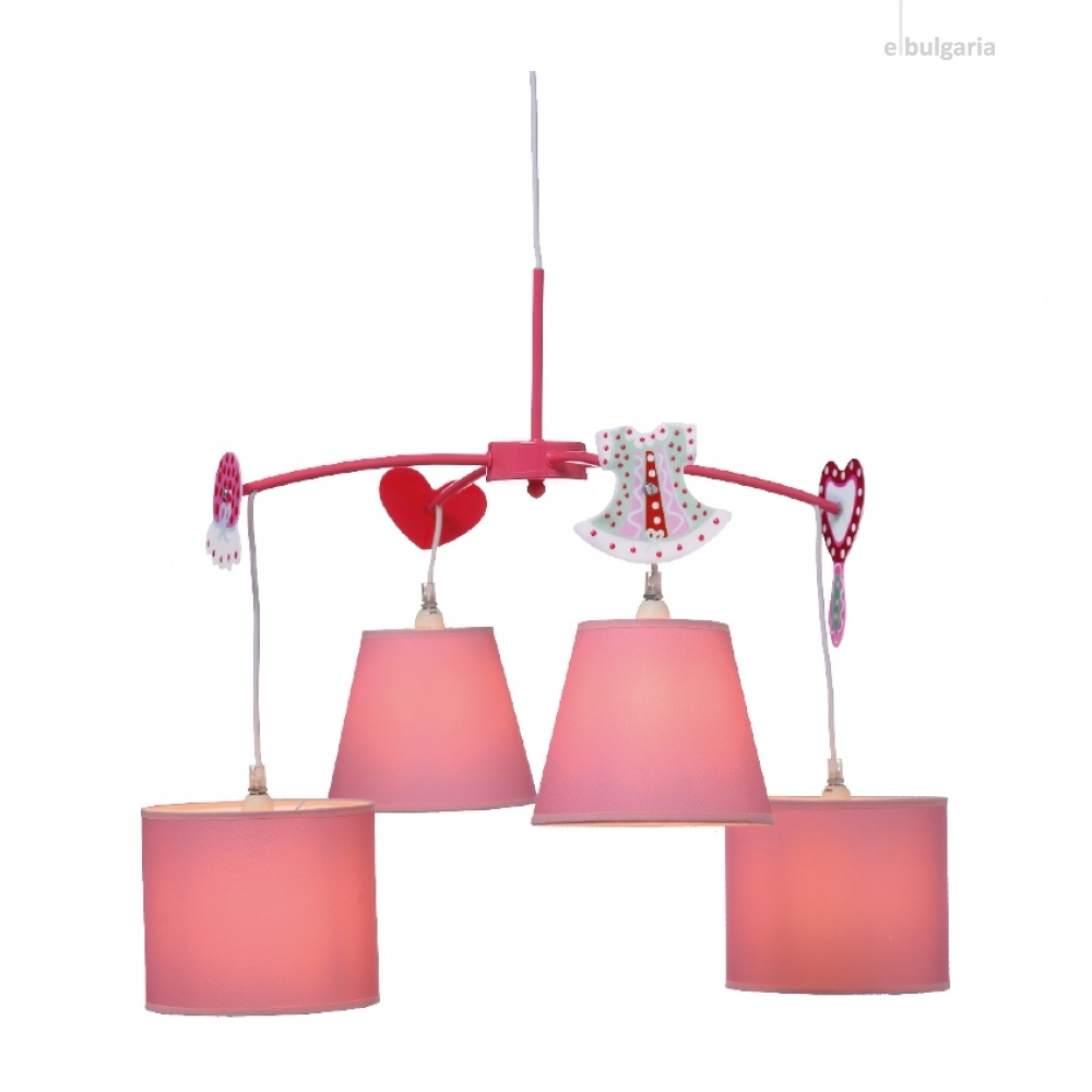 полилей bambini luminaires, pink+white, 4xE14, aca lighting, md91044