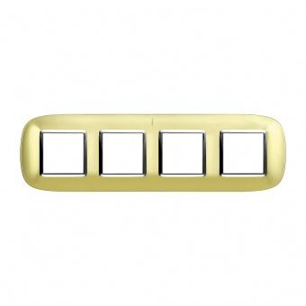 метална четворна рамка, gold mat, bticino, axolute, hb4802/4osn