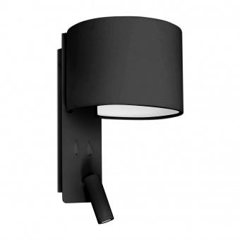 аплик fold, black, 1xE27+led 3w, 2700k, 200lm, faro, 64305