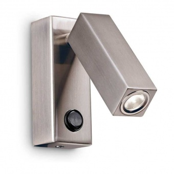 аплик page ap square, nickel, ideal lux, led 3w, 3000k, 210lm, ideal lux, 233857