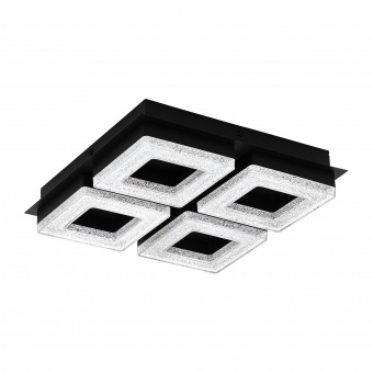 плафон fradelo1, black/crystal,black,clear, led 4x4w, warm white, 4x400lm, eglo, 99326