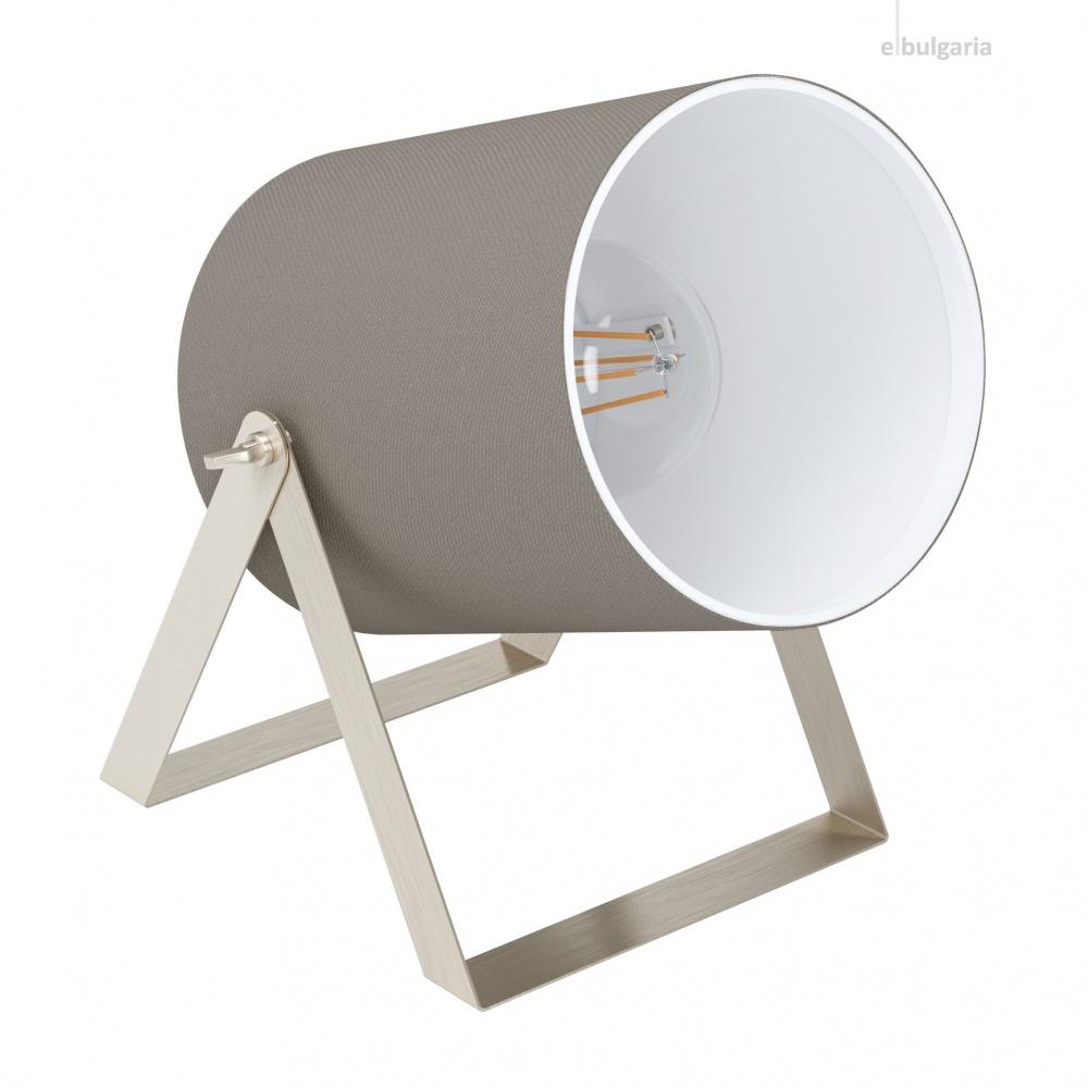 настолна лампа villabate1, satin nickel/taupe, 1xE27, eglo, 99104