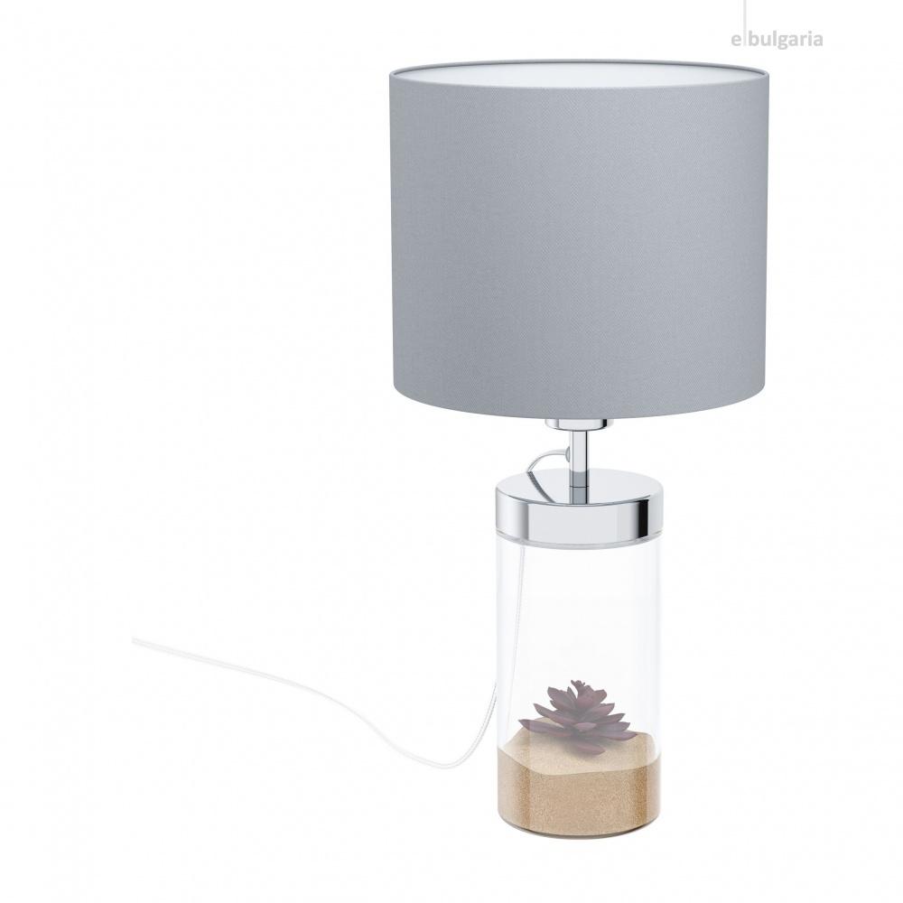 настолна лампа lidsing, clear/grey, 1xE27, eglo, 99289