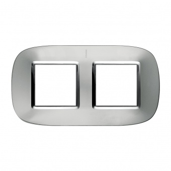 метална двойна  рамка, axolute aluminium, bticino, axolute, hb4802/2xc