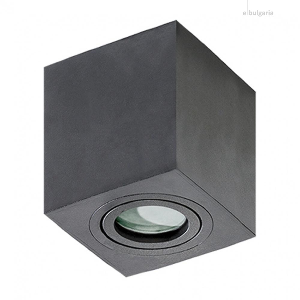 луна за външен монтаж brant square, black, 1xGU10, azzardo, az2878