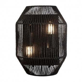 аплик wicker, matt black/black wicker shade, 2xE27, searchlight, 11201-2bk