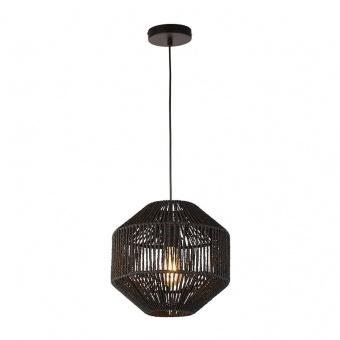 пендел wicker, matt black/black wicker shade, 1xE27, searchlight, 11203-1bk