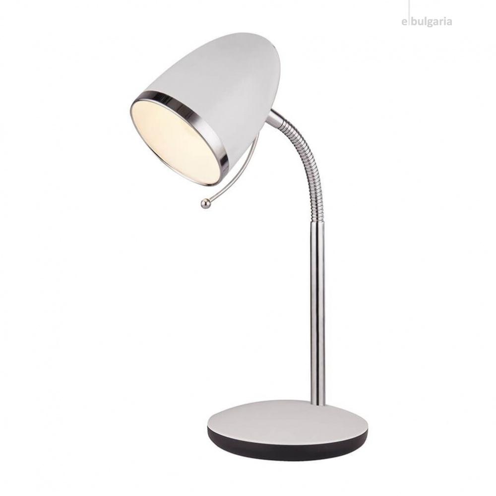 настолна лампа boston, white/chrome, 1xE27, searchlight, eu6558wh